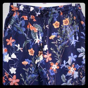 Lands End Floral Drawstring Pants 🌼🌸🍃